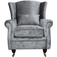 Wing Chair Fireside High Back Armchair Shimmer Silver Velvet Fabric