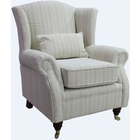 Designer Sofas 4 U - Wing Chair Fireside High Back Armchair Tempo Stripe Natural Fabric