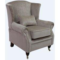 Wing Chair Fireside High Back Armchair Velluto Chiffon Fabric