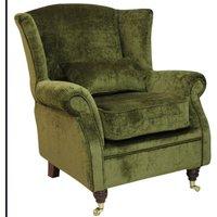 Wing Chair Fireside High Back Armchair Velluto Moss Green Fabric