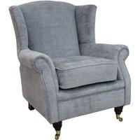 Designer Sofas 4 U - Wing Chair Fireside High Back Armchair Velluto Slate Fabric
