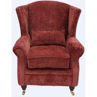 Wing Chair Fireside High Back Armchair Velluto Terracotta Fabric