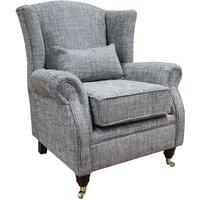 Wing Chair Fireside High Back Armchair Vita Silver Fabric