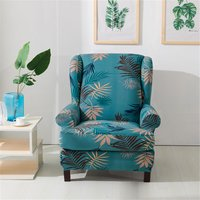 Lbtn - Wingback Printed Wing Arm Chair Sofa Recliner Cover Stretch SlipCover (Green, Style A)