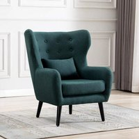 Winslow Wing Back Occasional Fabric Lounge Accent Chair Living Room Armchair Green
