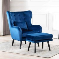 Cosy Chair - Winslow Wing Back Occasional Fabric Lounge Accent Chair Living Room Armchair Blue with Footstool