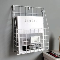 Wire Magazine Newspaper Book Rack Basket Wall Mounted Post Letter Storage Metal