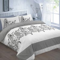 Wise Owls and Flowers Reversible Single Duvet Cover Bedding Bed Set Black