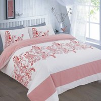 Wise Owls and Flowers Reversible Single Duvet Cover Bedding Bed Set Red