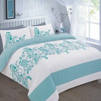 Wise Owls and Flowers Reversible Single Duvet Cover Bedding Bed Set Teal - DREAMZONE