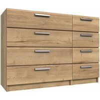 Wister Four Drawer Double Chest Natural Rustic Oak 810 mm 1098 mm 392 mm - NETFURNITURE