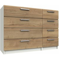 Wister Four Drawer Double Chest White and Natural Rustic Oak 810 mm 1098 mm 392 mm - NETFURNITURE
