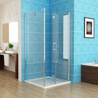 700 x 700 mm Shower Enclosure Cubicle Door with 700 mm Side Panel 6mm Easy Clean NANO Glass Bifold Door - No Tray
