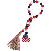 Wood Bead Garland with American Flag and Rustic Tassels, Farmhouse Wall Hanging Prayer Beads Patriotic American Independence Day 4th of July