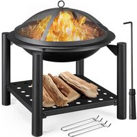 Wood Burning Fire Pit for Outdoor BBQ Grill Firepit Bowl W/ Cooking Grate and Spark Screen and Poker For Bonfire Camping Picnic Patio Backyard Garden