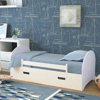 Wood Pine Single Bed Frame Solid Wooden Slatted Bedstead Bedframe With Drawer White - LIVINGANDHOME