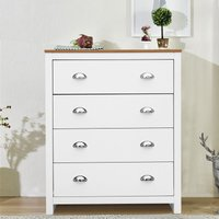 Livingandhome - Wooden Bedside 4 Drawers Organizer Storage Cabinet Home Furniture White+Beech