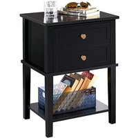 Wooden Bedside Table,Nighstand Bedside Cabinet with Storage Shelf and 2 Drawers, Side Table for Beddroom Living Room,Black