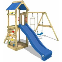 Wooden climbing frame FreeFlyer with swing set and blue slide, Garden playhouse with sandpit, climbing ladder and play-accessories - Wickey
