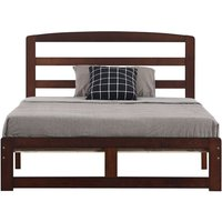 Wooden double bed 4ft6 modern simple single layer solid wood bed frame adults and children Walnut Color - Walnut Color