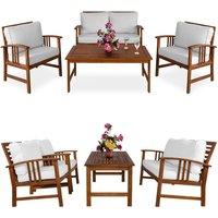 Wooden Garden Furniture Patio Bistro Set FSC Certified 4 Seater Acacia Hardwood - DEUBA