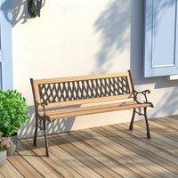 Wooden Garden Patio Bench Cast Iron Ends Legs Outdoor Park Chair 2-3 Seater Metal,Lattice Style
