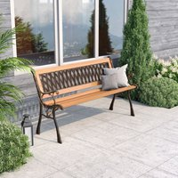 Wooden Garden Patio Bench Cast Iron Ends Legs Outdoor Park Chair Love Seat Metal, Lattice Style