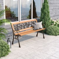 Wooden Garden Patio Bench Cast Iron Ends Legs Outdoor Park Chair Love Seat Metal, Rose Style - LIVINGANDHOME