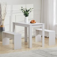Wooden Kitchen Furniture 6 Seater Dinning Table 2 Chair Bench Set Living Room, White