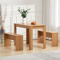 Livingandhome - Wooden Kitchen Furniture 6 Seater Dinning Table 2 Chair Bench Set Living Room, Wood