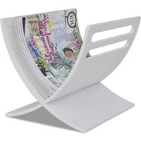 Wooden Magazine Rack Floor Standing White - White