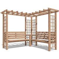 Wooden Pergola Gerlinde - Arbour Garden Corner Bench Trellis Seating with Armrests and Mini Corner Table