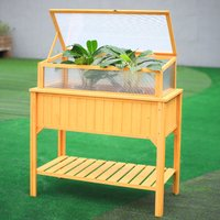 Wooden Planter Raised Bed Flowers Pot Holder With Shelf Greenhouse And Weeding Bag