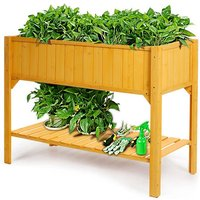 Wooden Planter Shelf Vegetable Flower Garden Bed With Weeding Bag - LIVINGANDHOME