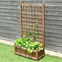 Wooden Rectangular Trough Planter Stand Outdoor Indoor Flowe
