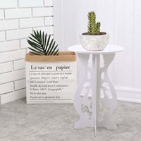 Wooden Round Coffee Table Side Table Plant Stand - LIVINGANDHOME