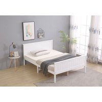 Wooden Double White Bed Frame with Mattress
