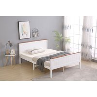 Wooden Double White with Oak top Bed Frame with Mattress