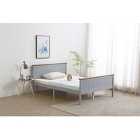 Wooden Double Grey with Oak top Bed Frame with Mattress