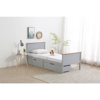 Roomee - Wooden SINGLE Grey with Oak top Bed Frame with 2 Storage Drawers and Mattress