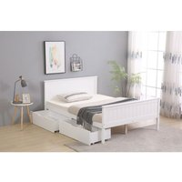 Roomee - Wooden Double White Bed Frame with 2 Storage Drawers and Mattress