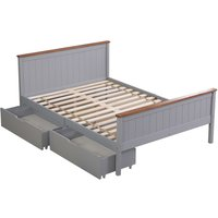 Wooden Double Grey with Oak top Bed Frame with 2 Storage Drawers - ROOMEE