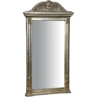 Wooden Wall Mirror With Antiqued Silver Leaf Finishing Made In Italy