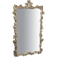 WOODEN Hanging Wall Mirror WITH SILVER LEAF FINISHING W59XD6XH98 CM MADE IN ITALY - BISCOTTINI