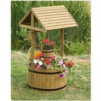 Wooden Wishing Well Flower Planter Garden Ornament - Smart Garden