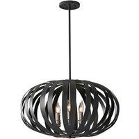 Elstead Woodstock - 6 Light Large Spherical Cage Ceiling Chandelier Pendant Light Black, E14