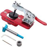 Woodworking Hole Opener 35MM Hinge Jig Kit Door Hinge Drilling Guide Locator Hole Puncher for Carpenter,model:Red