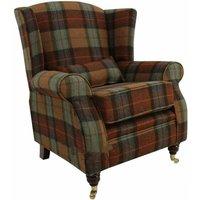 Wool Tweed Wing Chair |High Back Armchair Skye Burnt Orange Check Wool