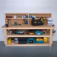 Work Bench with Back Panel 7Ft + Shelf - MDF Light Green