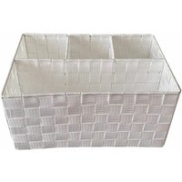 Woven Storage Box Basket Bin Container Tote Organiser Divider For Home Office[White,33.5 x 23 x 16.5 cm]